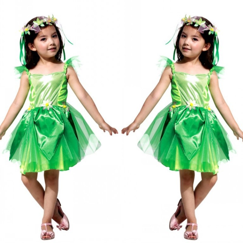 Free Shipping Kids Girls Fairy Tinkerbell Dress Costume Carnival Halloween Children Cosplay Clothes Princess Fancy Dress