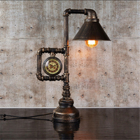 Retro Creative Iron Water pipe Clock Desk light E27 Personality Vintage Industrial Wind Warm Style Desk lamp for Study Bedroom