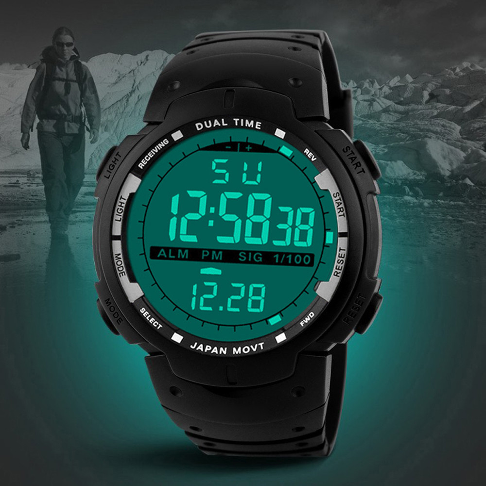 GEMIXI Luxury Brand Mens Sports Watches Dive <font><b>100m</b></font> Digital LED Military Watch Fashion Casual digital Wristwatches Relojes2019 image