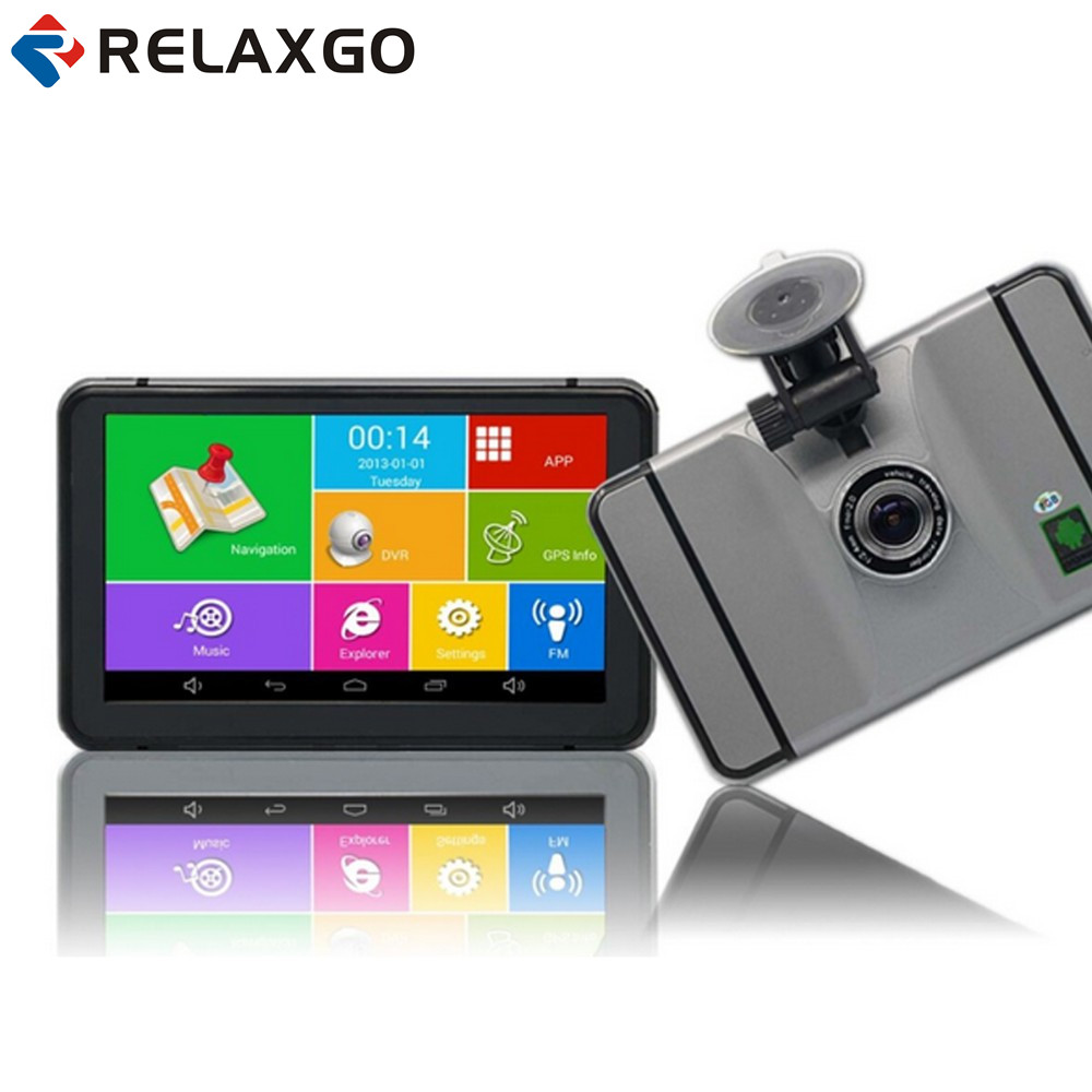 Relaxgo 7 inch Android Car GPS Navigation Wifi FM Car DVR Camera Video Recorder 1080P Portable Vehicle GPS Navigator 512MB /8GB таблетки finish quantum powerball shine