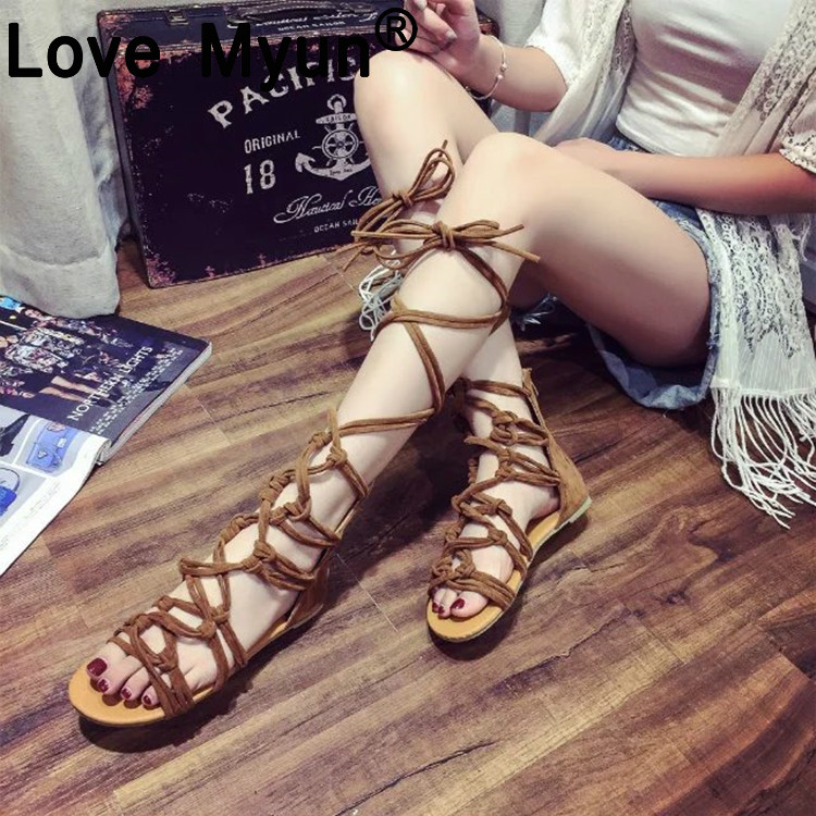 Women Sandals 2019 Summer Gladiator Sandals Woman Shoes Cross tied Flat Open Top Sandals Lace Up Ankle Strap Sandals 35-43 569