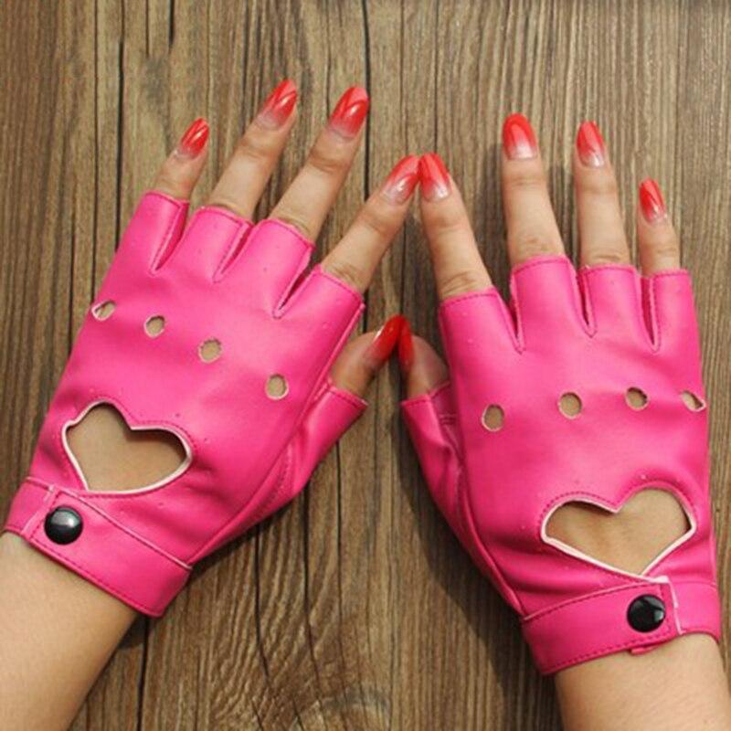 1 Pair Leather Gloves Luvas Guantes Mujer For Women Girls Red Balck White Loving Heart Gloves