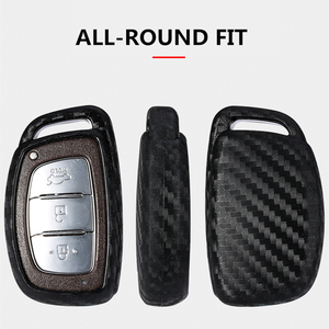 Image 5 - 2019 New Carbon Fiber Silica gel Key Cover Case For Hyundai Elantra Tucson Mistra Verna Sonata IX25 IX35 Car keychain keyring
