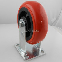 1 pcs PVC /PU 6 inch red Double Ball Bearing Korean Type Swivel Caster Industrial Accessory Trolley Cast fixed caster