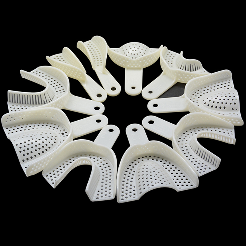 10Pcs/set Dental Impression Plastic Trays Without Mesh Tray Dental Care Teeth Holder Dental Materials Supply For Oral Tools(China)
