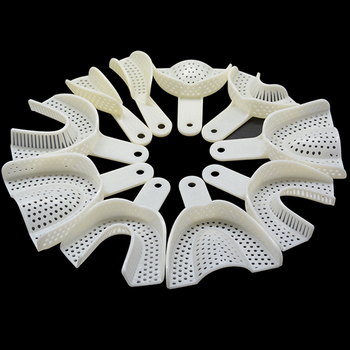 10Pcs/set  Dental Impression Plastic Trays Without Mesh Tray Dental Care Teeth Holder Dental Materials Supply For Oral Tools delian dental bonding ultra fast tray adhesive with brush bottle impression material dental silicone product