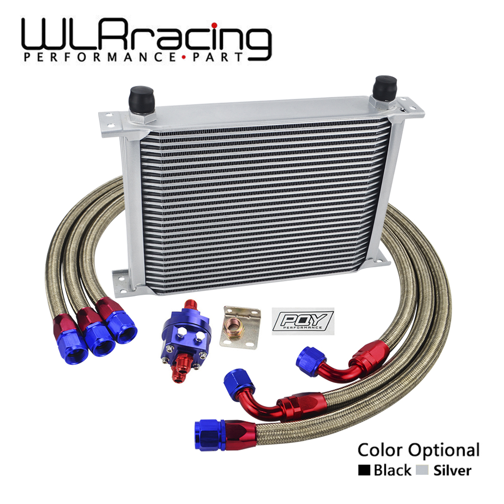 WLRING - UNIVERSAL 28 ROWS AN10 OIL COOLER KIT +OIL FILTER ADAPTER + NYLON STAINLESS STEEL BRAIDED HOSE WITH PQY STICKER+BOX wlring oil filter sandwich adaptor for high quality oil filter remote block with thermostat 1xan8 4xan10 orb female wlr6744