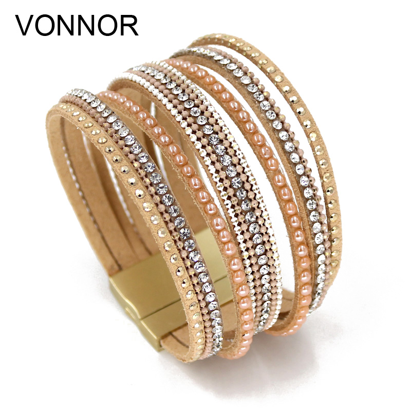 VONNOR Women's Wrap Bracelets Multilayer Velvet Rope Bracelet Combine Mosaic Bangles Bracelets Female Jewelry Dropshipping duoying 40 4 mm bar bracelets rope custom name bracelet personalize string bracelet friendship family bracelets jewelry for etsy