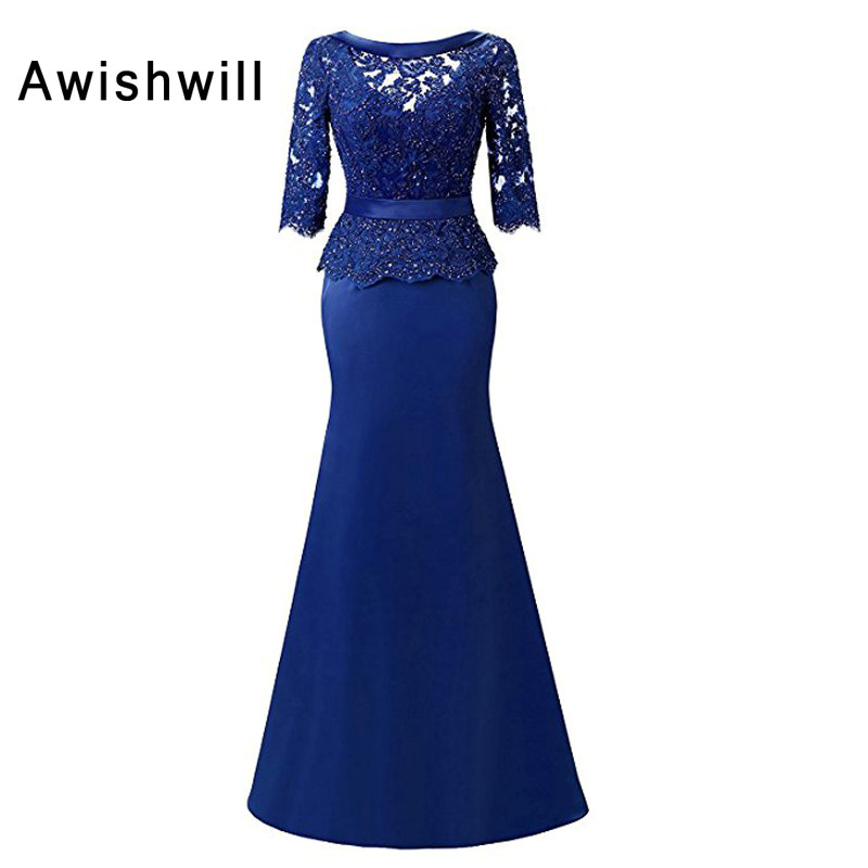 New Arrival With 3 4 Sleeves Beadings Lace Appliques Satin Mermaid Formal Evening Dress Modest Mother