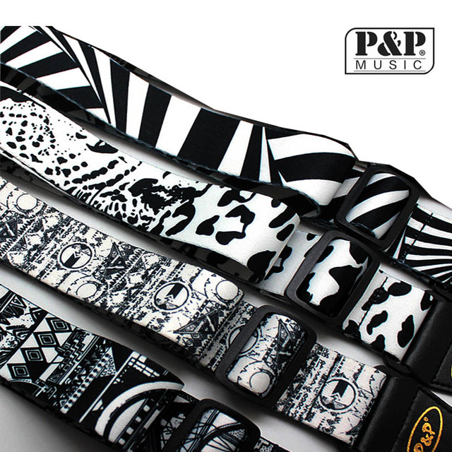 Adjustable Guitar Strap Print Super Thick Super Soft Black and White Pattern for All Guitar