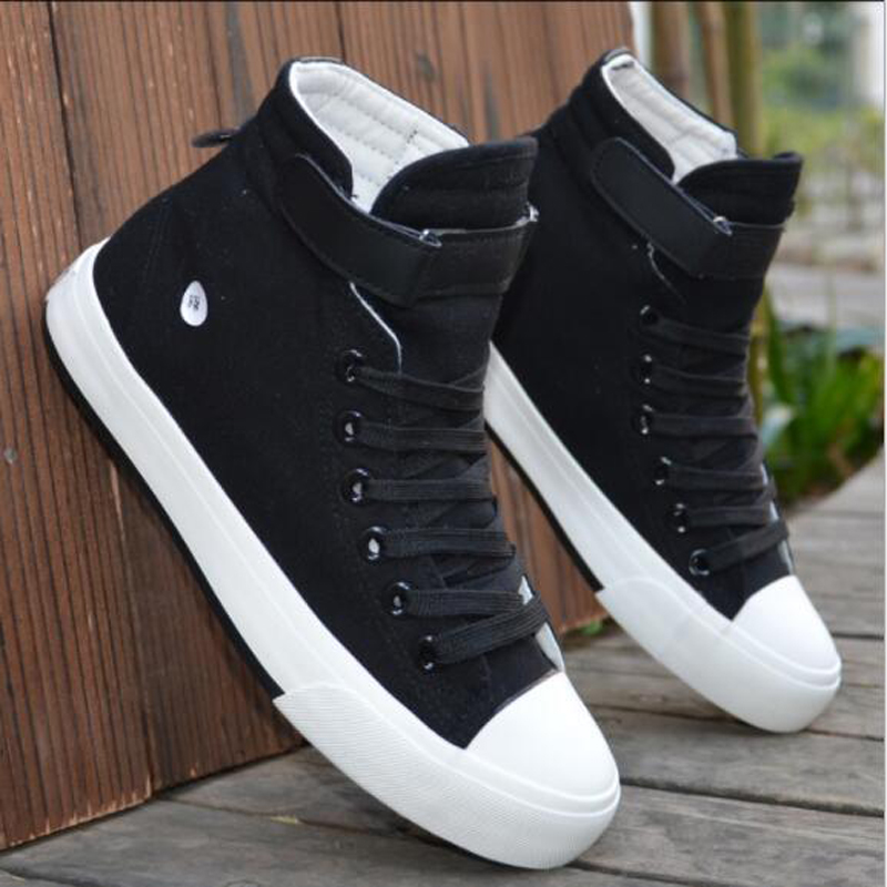 Men Canvas Shoes Spring Autumn 2018 Lace-up High Style Black Fashion Flats Shoes Youth Students Shoes Hot Sale Vulcanize Shoes W