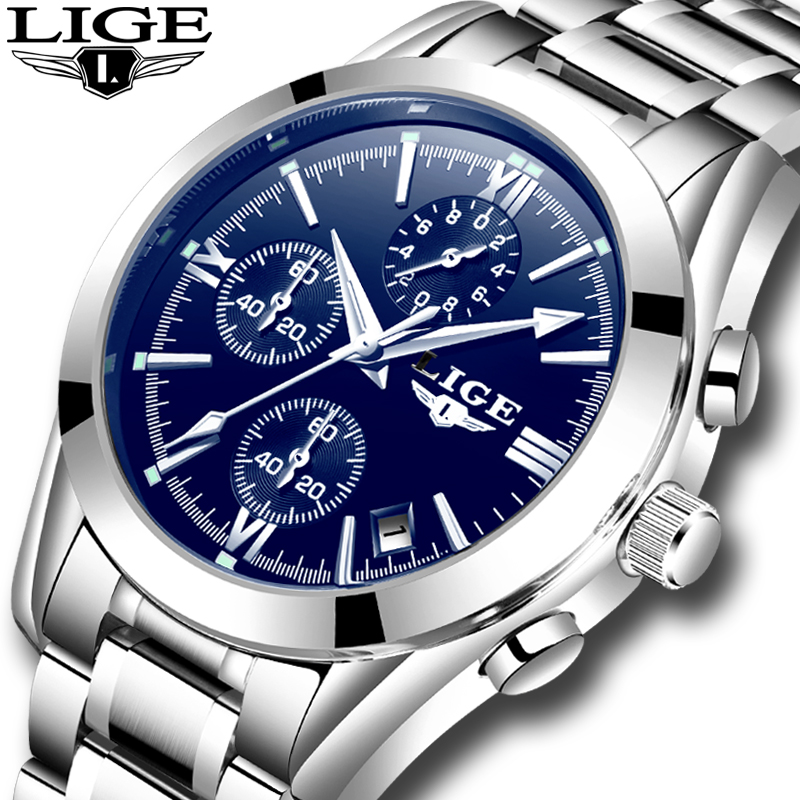 LIGE New Mens Watches Top Brand Luxury Fashion Business Quartz Watch Men Waterproof Full Steel Clock Male Dress Wristwatches+box rosra brand men luxury dress gold dial full steel band business watches new fashion male casual wristwatch free shipping
