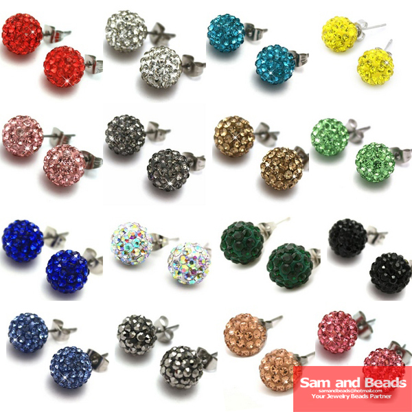 50 Pairs Lot 28 Colors Disco Crystal Ball Earrings Studs Lt Green Sbe06 In Stud From Jewelry Accessories On Aliexpress Alibaba Group