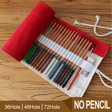 36/48/72 Holes Pencil Case Portable Canvas Roll Up Red Color Students Stationary Storage Bag Pouch For Painting School Supplies 36 48 holes portable pencil bag roll up pencil case black canvas pencil roll up storage stationery art supply school stitionery