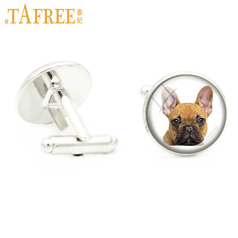 TAFREE new handmade love French bulldog glass gem cufflinks men jewelry dog lovers gifts poodle collie animal cuff links DG25