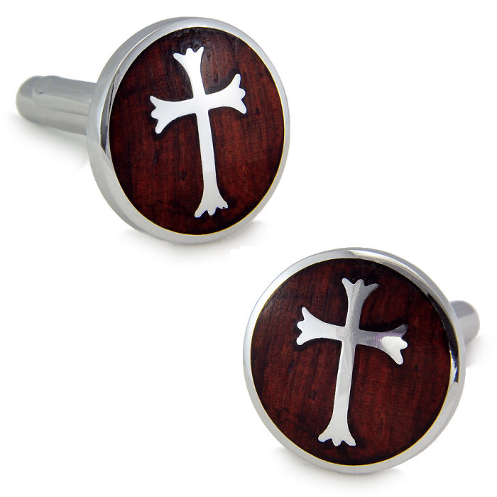 SPARTA Stainless steel + Mahogany Cuffliks Knights Hospitaller men's Cuff Links + Free Shipping !!! metal buttons