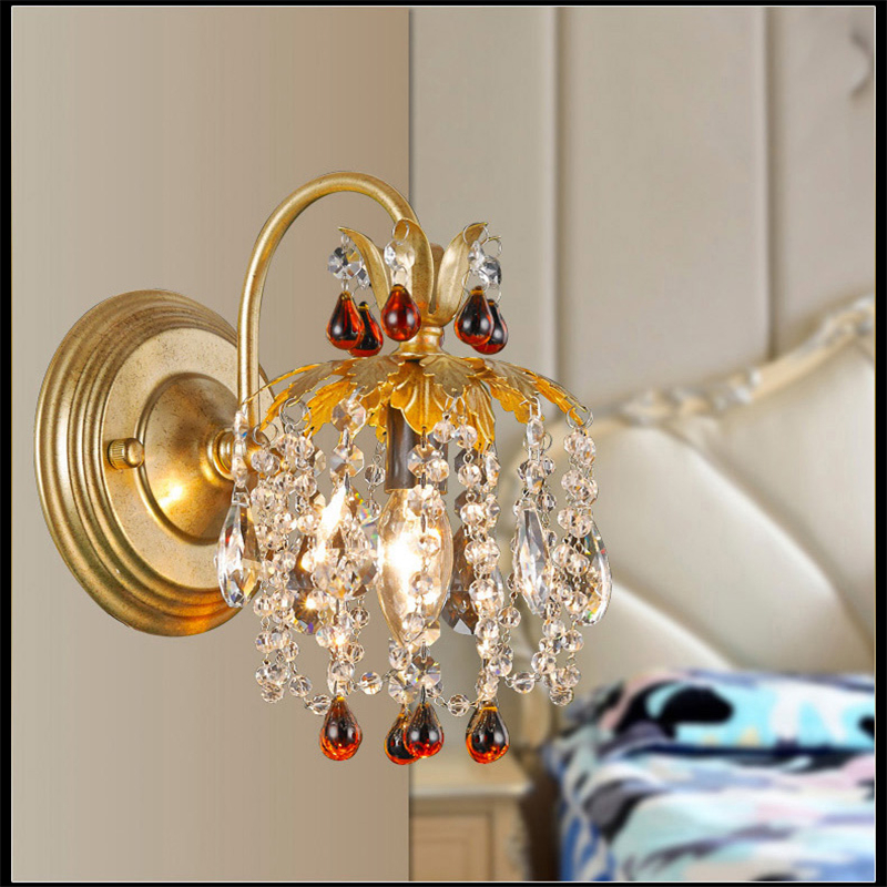 European Fashion K9 Crystal Wrought Iron Wall Lamps Creative Art Deco Wall Lamp Bedroom Bedside Light Mirror Front Lamps