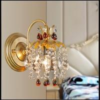 European Fashion K9 Kristall Schmiedeeisen Wandleuchten Kreative Art Deco Lampe Schlafzimmer Nachttischlampe Spiegelfront Lampen