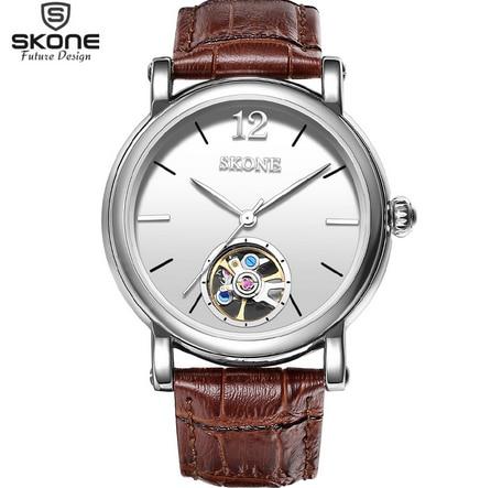 ФОТО SKONE Automatic Mechanical Watches Men Luxury Brand  Genuine Leather Strap Wrist Watch Mechanical Self Watch 2016 New Arrivals
