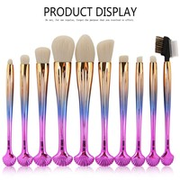 MAANGE 10PCS Makeup Brushes Tool Sets Foundation Eye Shadow Blending Powder Contour Blush Cosmetics Make Up