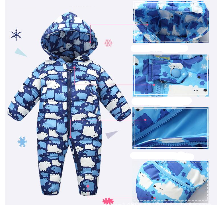 Newborn Baby Boys Duck Down Romper Jumpsuit Infant Girls Hooded Outerwear toddler kids Winter Snowsuit Jacket Crawling Clothes winter baby snowsuit baby boys girls rompers infant jumpsuit toddler hooded clothes thicken down coat outwear coverall snow wear