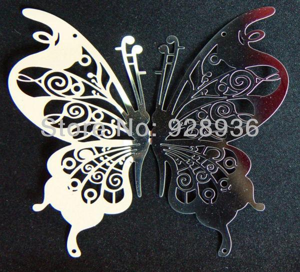 10*10cm 3D Butterfly Wall Decor Mirror Wall Sticker Metal Butterfly Wall  Art Stainless Butterfly