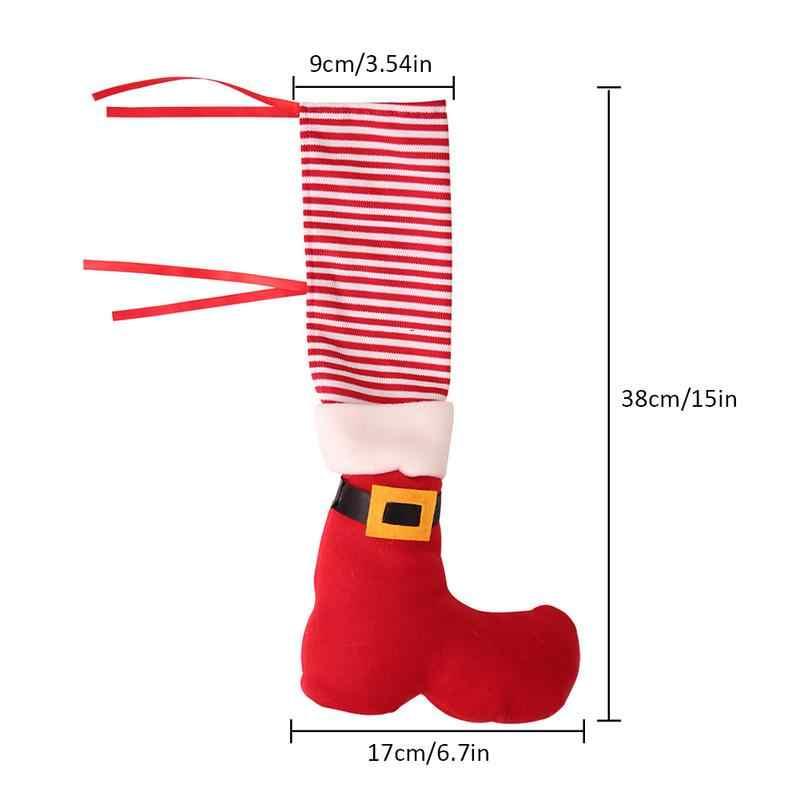 Новинка 2018 года, 4 комплекта рождественских украшений, Рождественский ресторан, барный стул, покрытие для ног, табурет, покрытие для ног, Рождественское украшение