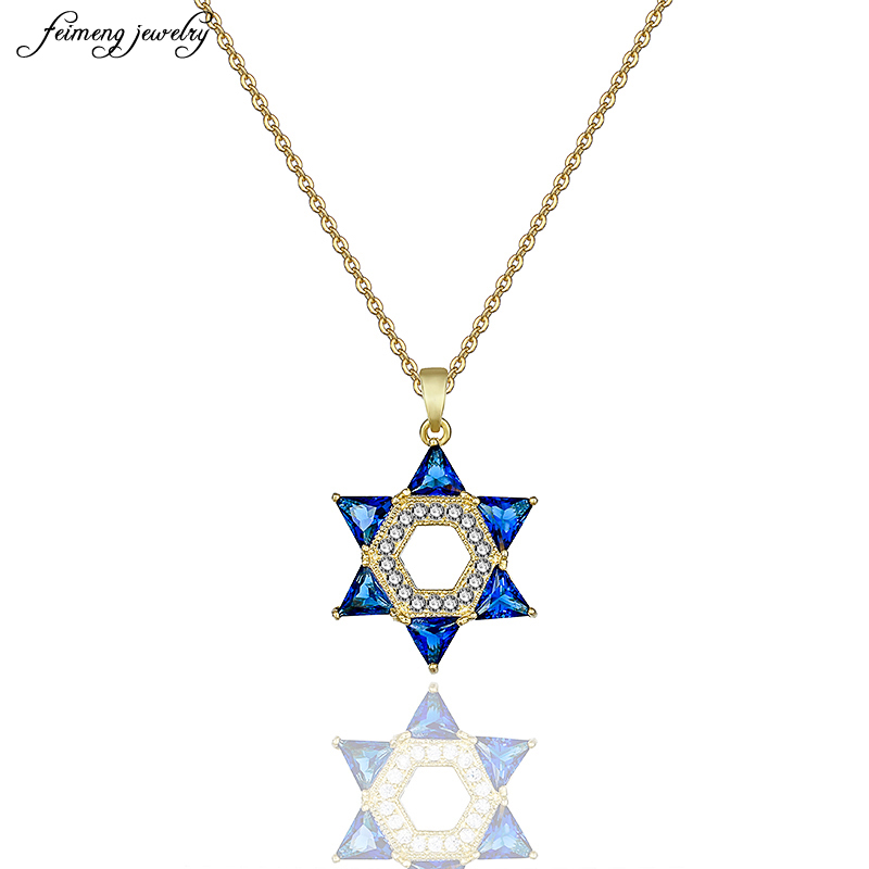 Delicate Silver Six Star Angle Pendant Necklace Jewelry Gold/Silver Color Cubic Zirconia Crystal Israel Jewish Necklace jewelry