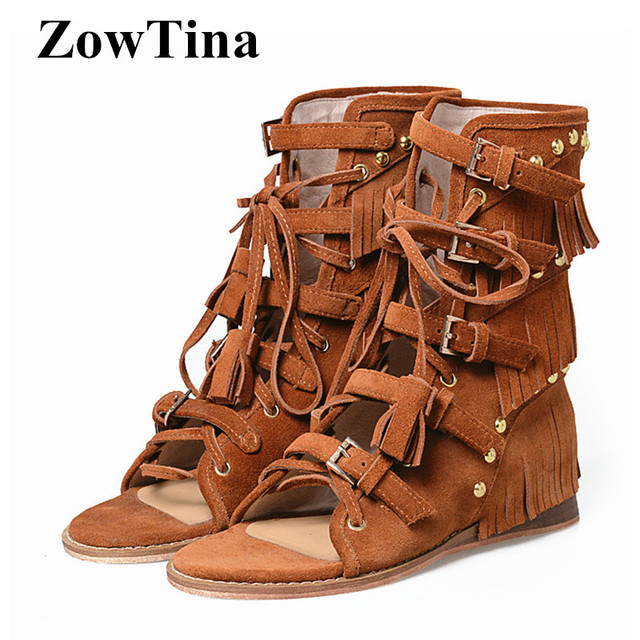 f819ae37f6f Women Suede Bohemian Sandals Brown Gladiator Studded Wedge Heels Sandalias  Mujer 2018 Ankle Strap Buckle Fringe Beach Sandals