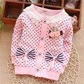 (1piece /lot) 100% cotton 2016  Autumn pink bow princess girls jacket 73.80.90.100, 1-3year old