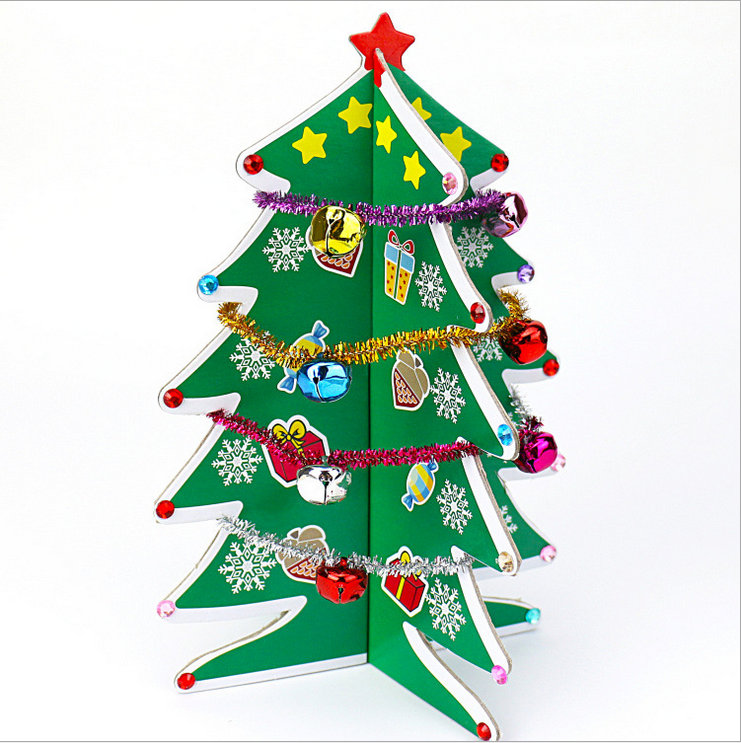 Cardboard Christmas Tree.Us 23 73 30 Off 6pcs Lot Diy Cardboard Christmas Tree Craft Kits X Mas Ornament Early Educational Toys Craft Material Kindergarten Crafts Oem In