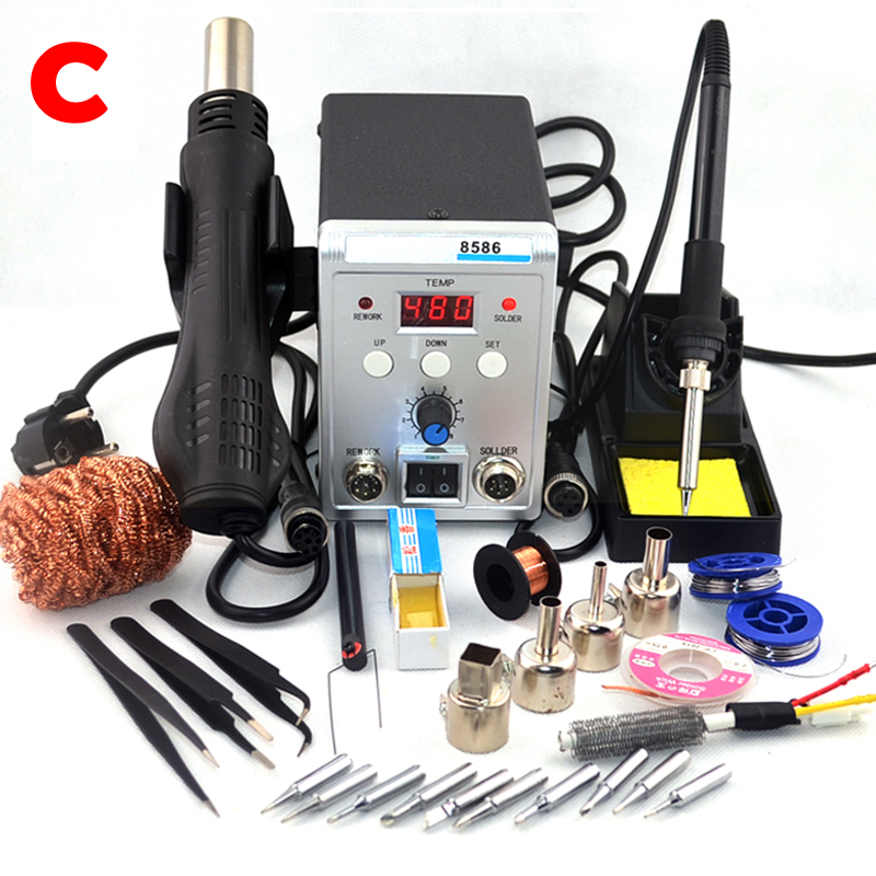 8586 700W 2 In 1 ESD Hot Air Gun Soldering Station Welding Solder Iron For IC