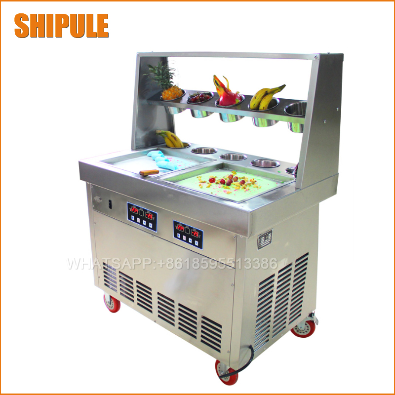 220v 110v 35*35cm double square pan fried ice cream machine ice cream machine roll double roll milk Ice Cream Roll Machine edtid new high quality small commercial ice machine household ice machine tea milk shop