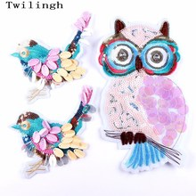 1 Pcs New Top Sew On Patches Bird Owl Animal Sequined Patch Applique DIY Sewing Fabric Repair Clothing Wedding Stickers
