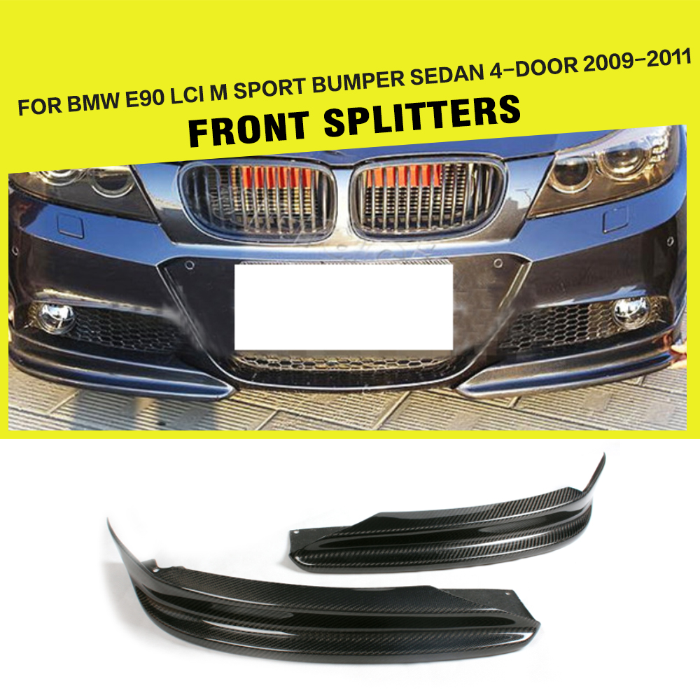 For BMW 3 Series E90 LCI M Sport Front Bumper Splitter Lip Apron Flaps Sedan 4-Door 2009 - 2011 Carbon Fiber Car-Styling
