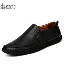 Big Size Men Genuine Leather Shoes Slip On Black Shoes Real Leather Loafers Mens Moccasins Shoes Italian Designer Shoes