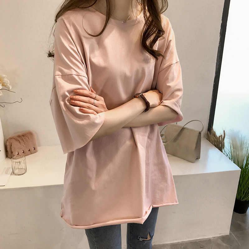 Camiseta de manga corta con cuello redondo de gran tamaño para mujer, camisetas Blanco sólido para mujer, camisetas holgadas informales de verano 2020 para mujer