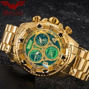Image 1 - Оригинальные мужские часы с золотым календарем, украшенные большим циферблатом, 6 контактная спиральная Корона, спортивные часы США, мужские часы с волком кубом