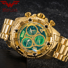 Originele Horloge Mannen Goud Kalender Persoonlijkheid Grote Wijzerplaat Decoratie 6 Pin Spiral Crown Usa Sport Relogio Masculino Wolf cub