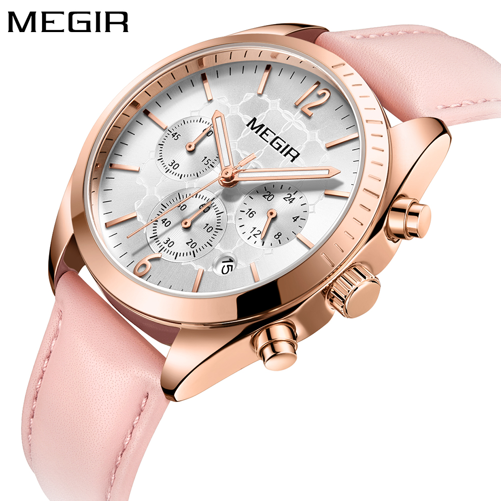 MEGIR Fashion Luxury Brand Quartz Women Watch Leather Band Ladies Watches Pink Gold Wristwatches Women Clock reloj mujer 2018 simple elegant women watches 2018 new hot sell brand gogoey wristwatches fashion ladies leather quartz watch reloj mujer clock page 2