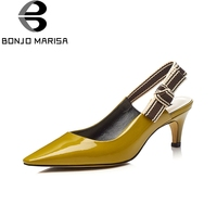 BONJOMARISA 2018 Summer Genuine Leather Brand Shoes Pointed Toe High Heels Elastic Band Ol Shoes Sandals