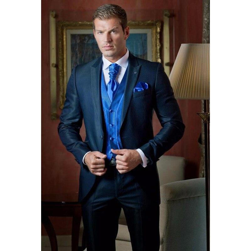 custom made blue Men wedding tuxedos 2015 peaked Lapel Wedding suits men suits three piece Suit (Jacket+Pants+Vest) D69