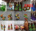 E031 Miao Ethnic hand wrapped colorful silk thread earrings,ethnic BOHO fashion,10pcs lot,mix order Free China post