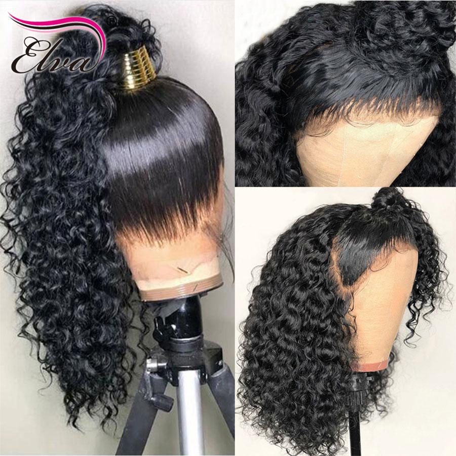 Pre Plucked Glueless Full Lace Human Hair Wigs For Black Women Curly Brazilian Full Lace Wigs Elva Remy Hair Wigs With Baby Hair