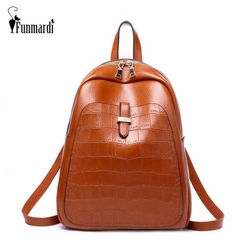 FUNMARDI Fashion Crocodile Pattern Women Backpack Vintage Oil Wax Leather  Bag Brand Travel Backpack Female Shoulder afa2469ba8