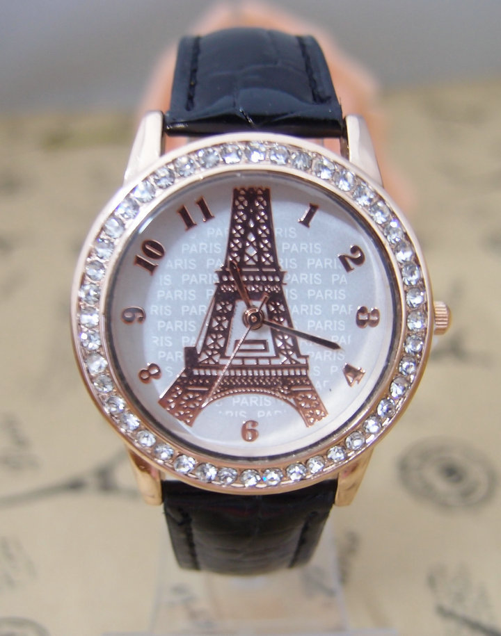 High Quality Paris Eiffel Tower Leather watch women Crystal dress quartz wristwatches Relojes Mujer go059 auto car usb sd aux adapter audio interface mp3 converter for fiat idea 2004 2010 fits select oem radios