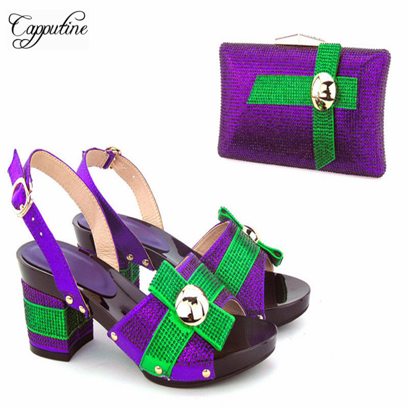 Capputine New Arrival Italian font b Shoes b font With Matching Bag Set For Wedding Party
