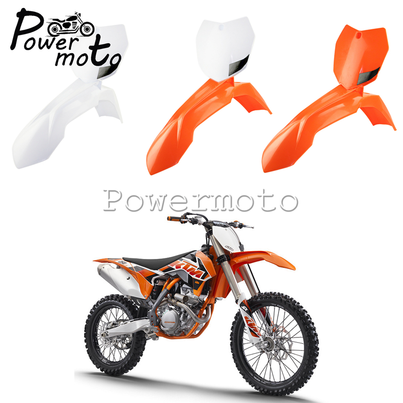 Motocross Dirt Bike Front Fender + Front Number Plate For KTM SX SX F XC XC W XCF W EXC XC F EXC F SXS 150 250 300 350 450