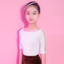 Fashion velvet cutout half-Sleeve Latin dance clothes top for little girl/children,Tango ballroom costume performance wear G1025