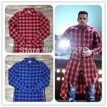 Hip Hop Tyga Mens Red Tartan Plaid Shirts Long Sleeve Side Gold Zipper Man Extended Casual Bule Lattice Shirt